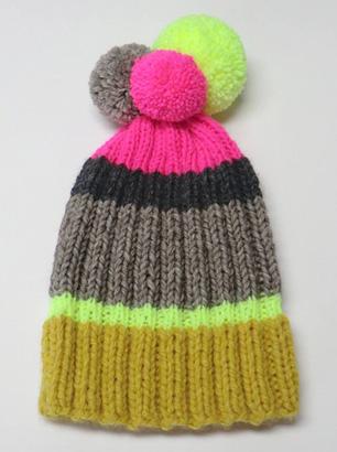 Bommelmütze Neonfarben Grau Wollmütze
